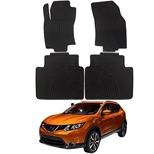 Nissan Rogue Floor Mats Durable Breathable Floor Liners PVC Latex fit 2014-2018 Nissan Rogue 2014 Nissan X-Trail Black - Front (Durable Latex Floor Mats)