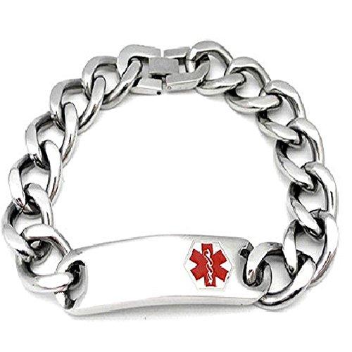 Medical Alert 316L Stainless Steel Large Link Men's Bracelet, Engravable ID Tag, 8.5