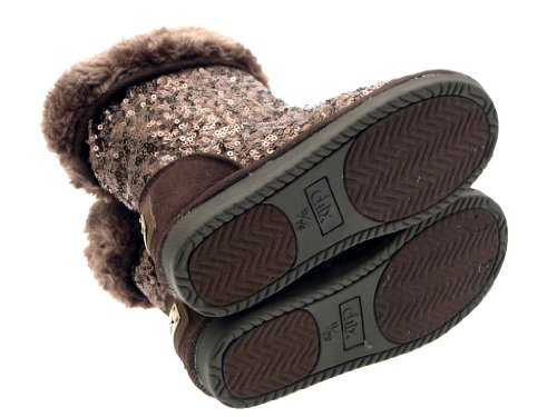ADULTS LADIES SIZE BOOTS WINTER Sequin LUXURY NEW BOOTS WOMENS 6 GIRLS SNOW KIDS Brown UK MID SEQUIN SUEDE LINED CALF WARM FAUX FUR INFANT 8 nBnITqvx