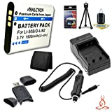 Halcyon 1500 mAH Lithium Ion Replacement LI-50B Battery and Charger Kit + Memory Card Wallet + SDHC Card USB Reader + Deluxe Starter Kit for Olympus Tough TG-820iHS 12.0 MP Digital Camera and Olympus LI-50B