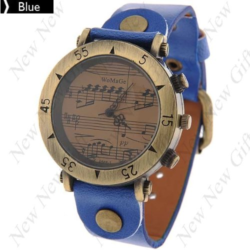 Retro Style Unique Design Music staff Men Women's Vintage Watch PU leather Band - Blue (Watch Calculator Vintage)