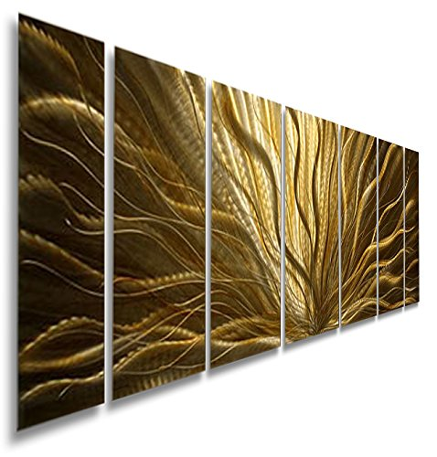 Statements2000 Large Modern Abstract Golden Metal Wall Art Painting - Contemporary Home Decor Sculpture Accent Art - Champagne Plumage by Artist Jon Allen