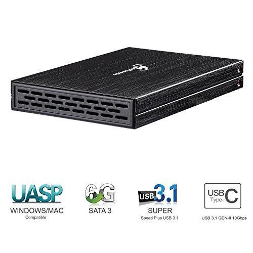 Mediasonic USB-C USB Type C 2.5-inch SATA SSD / Hard Drive Enclosure – USB 3.1 GEN-II 10Gbps Optimized for SSD and UASP Support (HDM-U31C