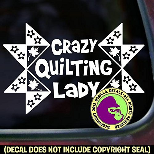 CRAZY QUILTING LADY Quilt Vinyl Decal Sticker A from Gorilla Decals