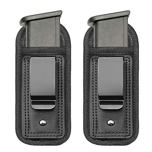 TACwolf 2 Pack IWB Inside Waistband Pistol Handgun Magazine Holster Pouch for Concealed Carry Universal Single Double Stack Mags for Glock17 26 19 Sig Sauer S&W Springfield XD Ruger 9mm/.45 (Best Double Stack Subcompact 9mm)