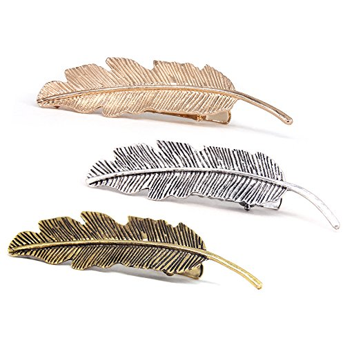 QTMY 3 PCS Metal Leaves Feather Hairpin Hair Clips Hair Accessories (3 pcs Leaves) ()