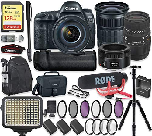Canon EOS 5D Mark IV DSLR Camera with 24-105mm Lens, 50mm f/1.8 Lens & Sigma 70-300mm Lens + 128GB Sandisk Extreme Memory + Video LED Light + Rode Microphone + 60″ Portable Tripod + Professional Kit