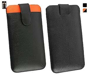 Emartbuy® Genuine Cuero Becerro Leather Negro / Naranja Funda Carcasa Case Tipo Bolsa (Size 5XL) Con Ranura Tarjeta Crédito y Tire Mecanismo Tab apto para Leotec Titanium T255 Smartphone 5.5 Inch