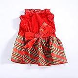 Elaco Christmas Dog Clothes Santa Doggy Costumes Clothing Pet Dress Apparel New Design (Red, M)