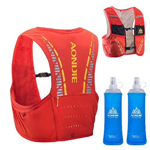 TRIWONDER 5L Hydration Vest for Hiking Cycling, Ultra Trail Race Vest Hydration Pack Backpack Marathon Running Vest Fits Men and Women (Red-Orange - with 2 Soft Water Bottles, L/XL - 35.2-38.8in) (Best Ultra Race Vest)