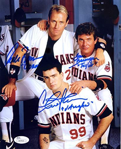 Charlie Sheen, Tom Berenger, and Corbin Bernsen Cleveland Indians Signed Autographed Major League 8