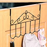 Over the Door Organizer Hooks for Coats, Hats, Robes, Towels, 7 Hooks, Heavy Duty Door Hanger Hook for Modern Home and Office, Black
