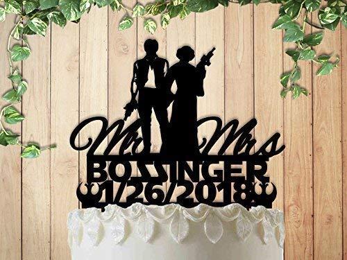 B01DAP0JZW Han and Leia Star Wars Wedding Anniversary Cake Topper Personalized 51r0xVbWjxL