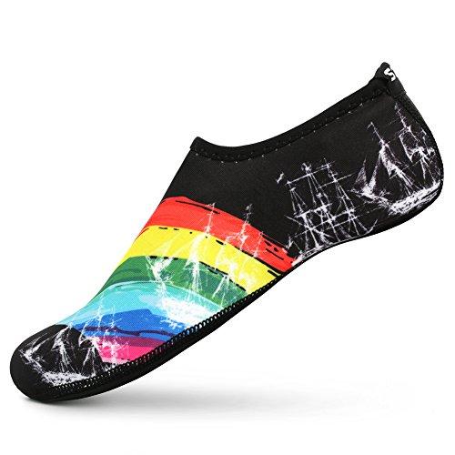 SENFI Unisex Wasser Haut Schuhe Barfuß Aqua Socken für Pool-Wasser-Aerobic-Übung A.schwarz