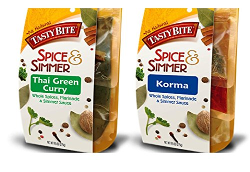 Tasty Bite Whole Spices, Marinade & Simmer Sauce 2 Flavor Variety Bundle: (1) Thai Green Curry, and (1) Korma, 9.5 Oz Ea