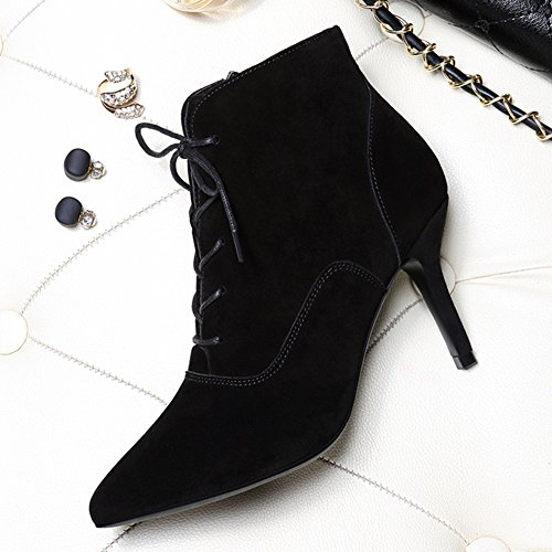 Black and Women Ankle Pointy Waterproof Toe Bootie Boots Fashion nSwa7qF8wH