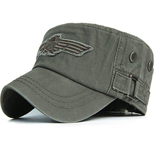 REDSHARKS Men Women USA American Eagle Cadet Army Cap Adjustable US Patriotic Military Hat Flat Top Baseball Cap Olive Green (Ebay American Girl)