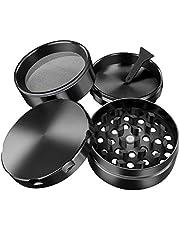 iLC Grinder Crusher Molen voor tabak, specerijen, kruiden, koffie, met pollenschraper 2 inch - gemaakt van zinklegering - 4-delig - diamantvormige tanden (zwart)