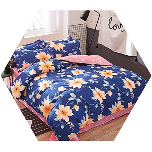 Bedding Set Flower Bed Linen 4Pcs/Set Duvet Cover Pastoral Sheet AB Side King ()