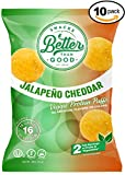 Better Than Good Snacks - Jalapeno & Cheddar Veggie Protein Puffs 16g Protein - 2 Serving of Fruits & Veggies, Low Carb, Low Sugar, 110 Calories Keto Friendly, Healthy Diabetic Snack
