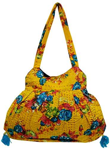Designer Floral Design Kantha work Yellow color Banjara Boho Indian Shoulder Bag #295