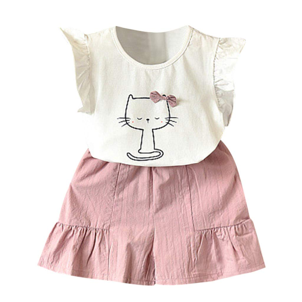 d6159c760eb3 Amazon.com: 2 PCS Clothes Set for Infant Kids Girls 2-7 Years Old Ruched Short  Sleeve Cute Cat Bowknot T-Shirt+Shorts Casual Set: Clothing