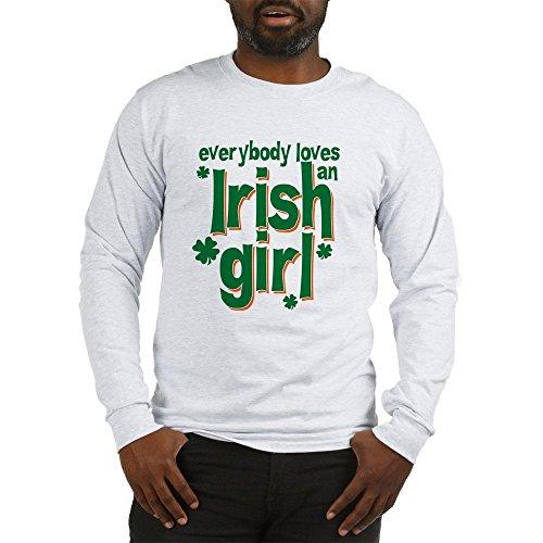 CafePress Everybody Loves Irish Girl Long Sleeve T-Shirt Unisex Cotton Long Sleeve T-Shirt Ash Grey (Everybody Loves An Irish Girl T Shirt)