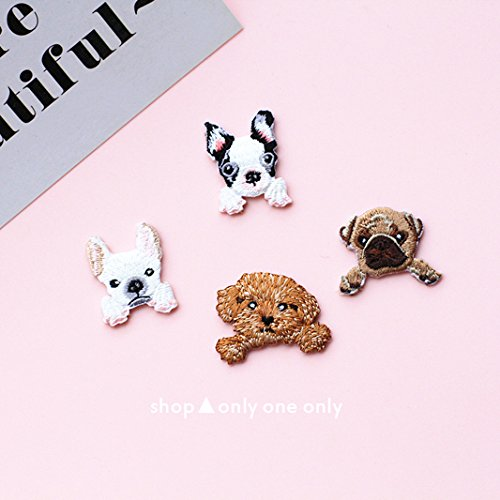 Embroidered Teacup - Jaese cute dog eight Ge Taige teacup schnauzer dog cloth patch stickers Shiba Inu brooch badge embroidered patch