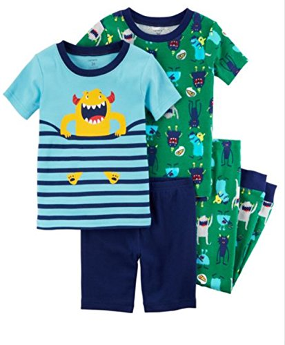 Carter's Boys' 6M-12 4 Piece Party Monster Pajama Set 12 Months