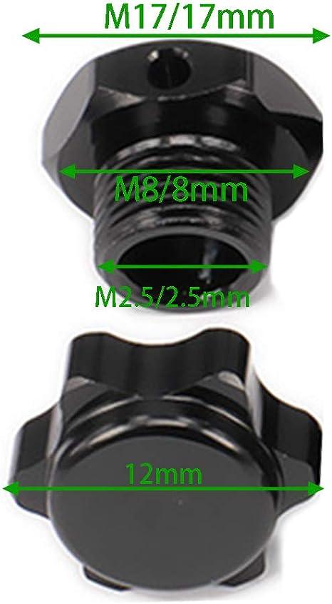 Pin Dia 2.5 mm Hex Dia 17mm Black 4pcs Wheel Hex Hub Nuts Fit for 1//8 RC HPI HSP Axial Traxs Car Crawler RC Car Wheel Hub Adaptor Pins 12mm Anti-dust Cap Covers