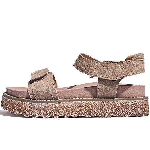 SOHOEOS Sandalias para Mujer Señoras Verano nueva plataforma plana Zapato abierto Flip Flop sandalias romanas señoras señoras Color arena