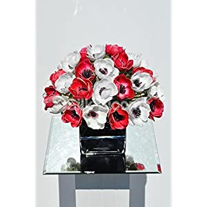 Gorgeous Fresh Touch Red and White Anemone Floral Arrangement in Black Cube Vase 115