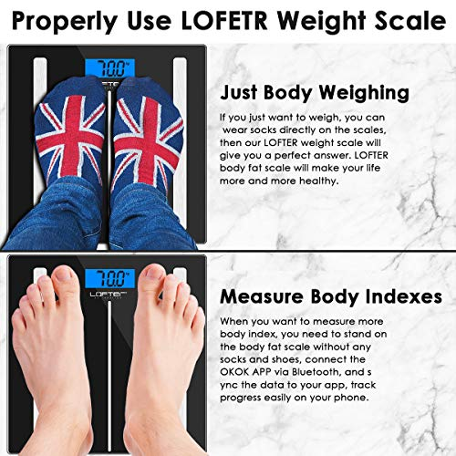 Bluetooth Body Fat Scale, LOFTER Smart Digital Weight Scale Wireless Bathroom Scale 12 Body Composition Analyzer with iOS & Android APP for Body Weight, Fat, Water, BMI, BMR, Muscle Mass, 396lbs Black by LOFTER (Image #6)