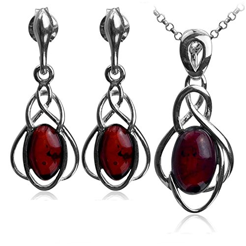 Cherry Amber Sterling Silver Oval Dangle Earrings Pendant Necklace Set Chain 18