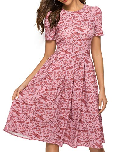 Simple Flavor Women's Floral Summer Midi Dress Vintage Evening Dress Short Sleeve(0005Red,XL)