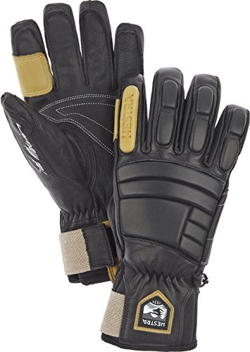 Hestra Waterproof Ski Gloves: Mens and Womens Pro Model Leather Winter Gloves, Black, 8