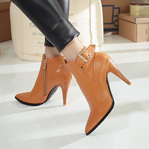 Mee Shoes Damen kurzschaft Reißverschluss high heels Ankle Boots Braun