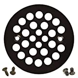 Oil Rubbed Bronze Round Shower Grate Drain 4-1/4'' Replacement Cover + Machine and Tapping Screws