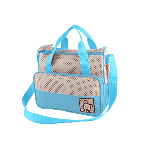 URAQT - Set 5 Kits Bolsa de Mama para Bebé Biberón Bolso/Bolsa/Bolsillo Maternal Bebé para Carro Carrito Biberón Colchoneta Comida Pañal con Gran Capacidad azul ligero