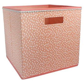 Beau New Fabric Cube Storage Bin Coral Dots