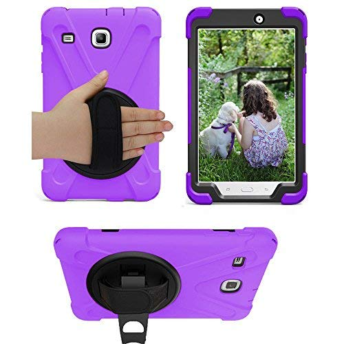 Galaxy Tab E 8.0 Case Cover by KIQ Shockproof Protective Shield Case Cover w/Palm Handstrap for Samsung Galaxy Tab E 8.0 SM-T377 [2016] SM-T377 (Shield Purple) ()