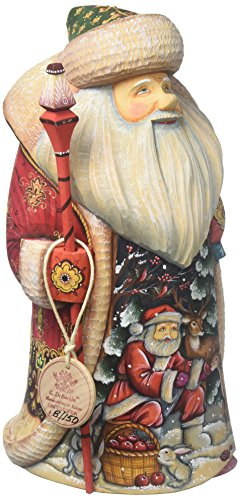 G. Debrekht Deer Friend Father Frost Santa Carved Wood and Hand-Painted Figurine - Debrekht Santa
