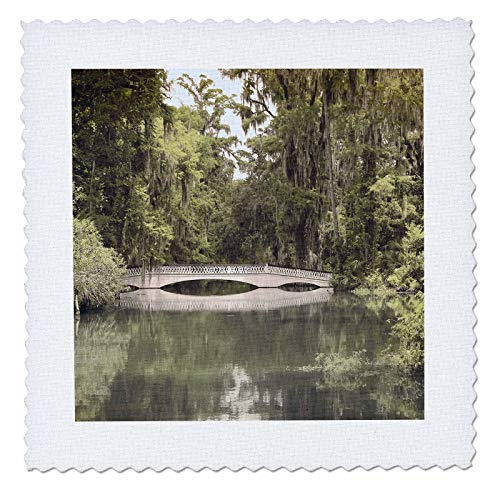 - 3dRose Stamp City - Architecture - Photograph of White Bridge at Magnolia Plantation and Gardens. - 12x12 inch Quilt Square (qs_289749_4)