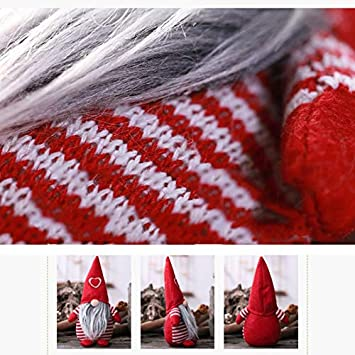 Bicyclin Christmas Elf 7.48x4.33 in Christmas Gnome Elf Dwarf Santa Plush Toy with Heart Cap Nordic Style Home Party Decoration Ornaments Soft Toys Red