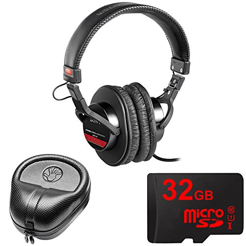 Sony Studio Monitor Headphones with CCAW Voice Coil (MDR-V6) with Slappa HardBody Headphone Case & 32GB MicroSD High-Speed Memory Card