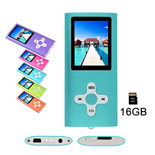RHDTShop MP3 MP4 Player with a 16 GB Micro SD Card, Support UP to 64GB TF Card, Rechargeable Battery, Portable Digital Music Player/Video/E-Book Reader, Ultra Slim 1.7″ LCD Screen, Blue,Purple