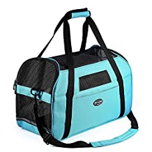 Pettom Dog Cat Pet Carrier Soft Sided Tote Airline Approved Travel Bag (Blue, S) Carrier
