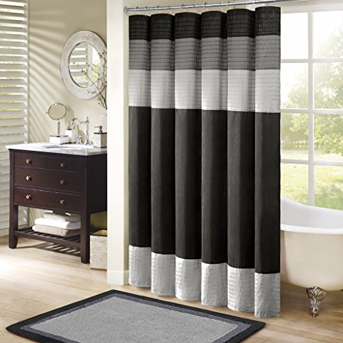 Madison Park Amherst Fabric Black Shower Curtain,Pieced Transitional Simple Shower Curtains for Bathroom, 72 X 72