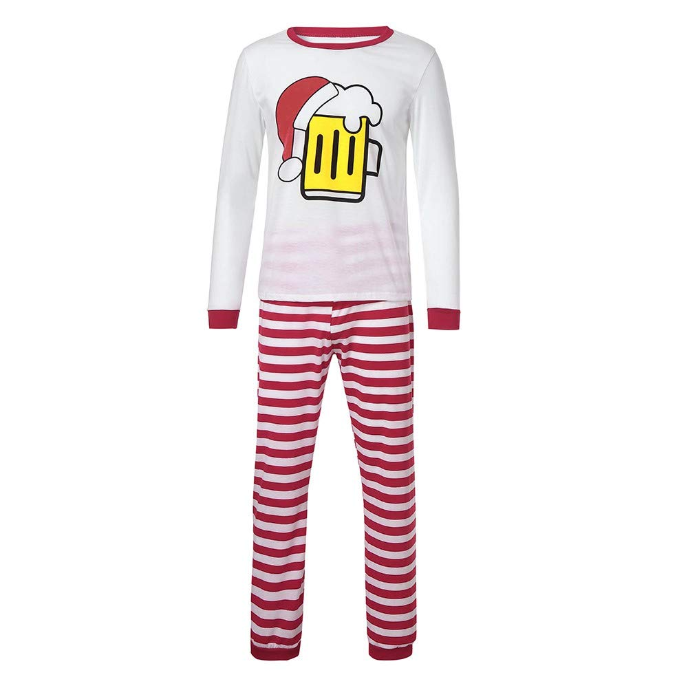 Christmas Mommy&Daddy&Me Women Coffee Hats Tops+Stripe Pants Family Set Clothes