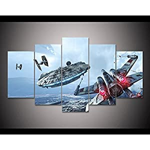 5PCS Framed Star Wars Millennium Falcon & X-Wing Canvas Prints – 5 Piece Canvas Star Wars Battle Artwork on Canvas Wall Art for Office and Home Wall Decor (20x35cmx2,20x45cmx2,20x55cmx1)